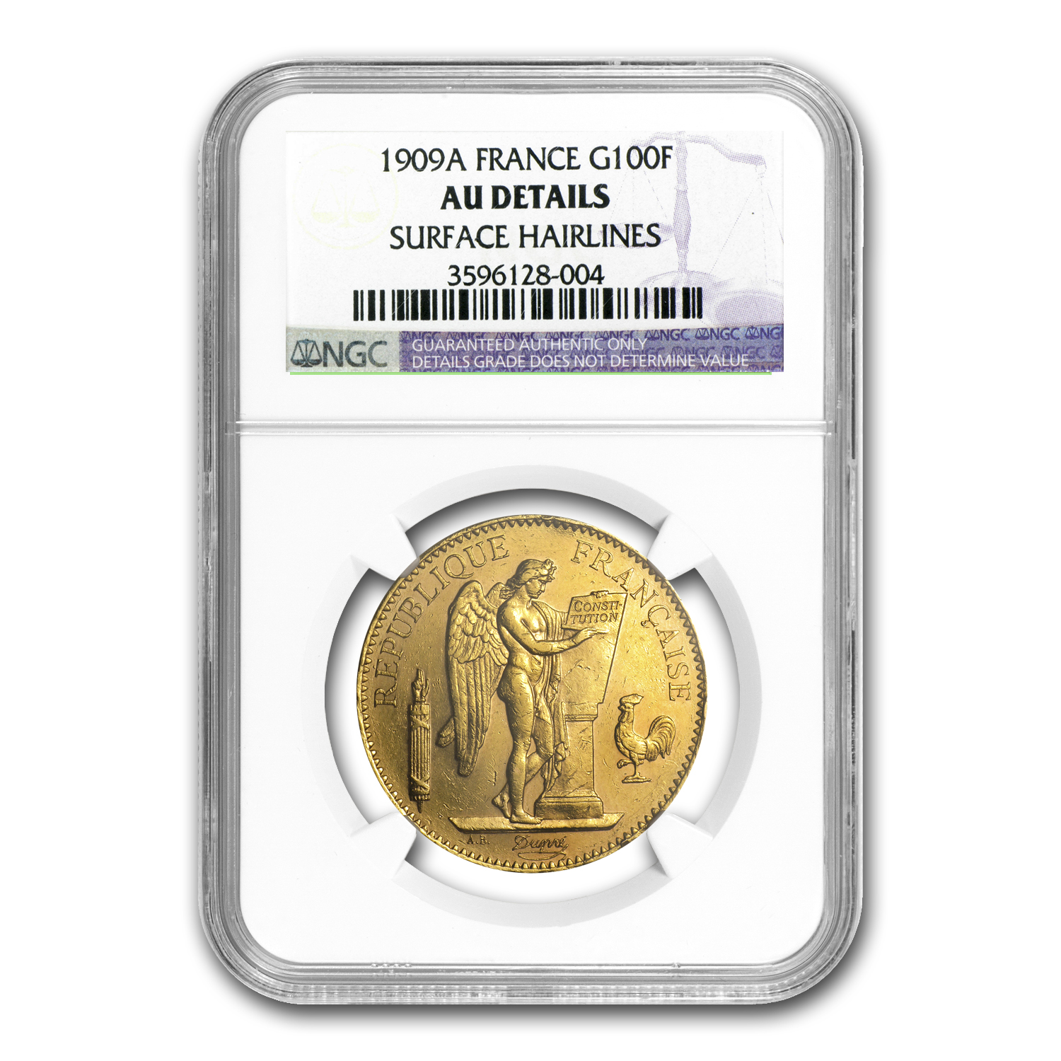 1909-A France Gold 100 Francs Angel AU Details NGC